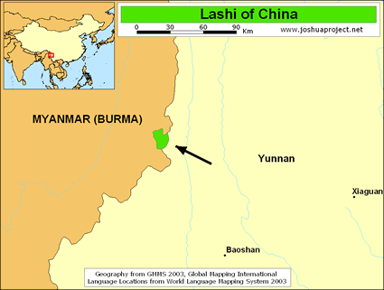Map of Lashi in China