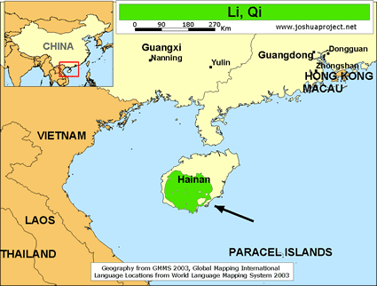 Map of Li, Qi in China