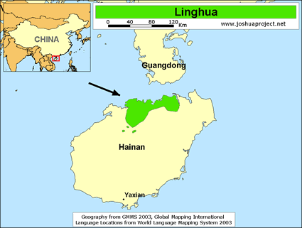 Map of Lingao in China
