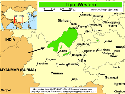 Map of Lipo, Western in China