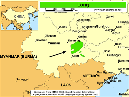 Map of Long in China