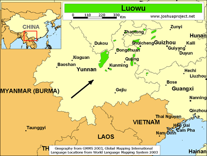 Map of Luowu in China