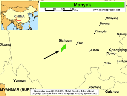 Map of Manyak in China
