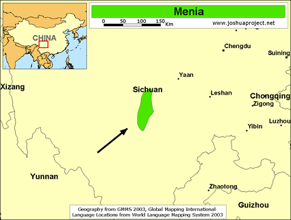 Map of Menia in China