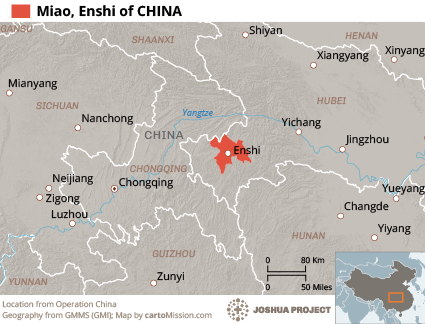 Map of Miao, Enshi in China