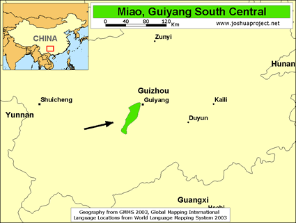 Map of Miao, Guiyang South Central in China