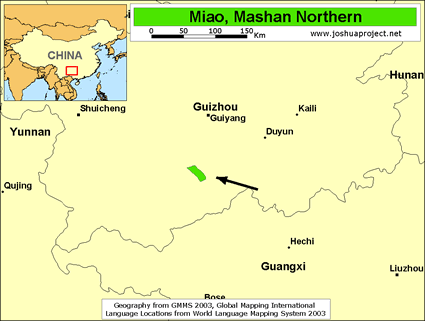 Map of Miao, Mashan Northern in China