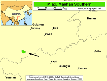 Map of Miao, Mashan Southern in China
