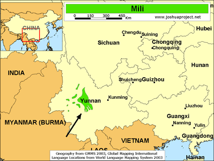 Map of Mili in China