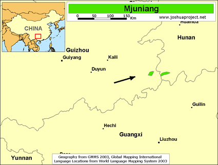 Map of Mjuniang in China