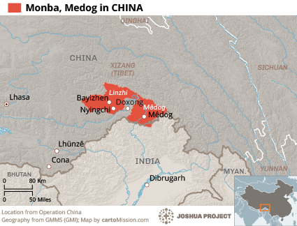 Map of Monba, Medog in China