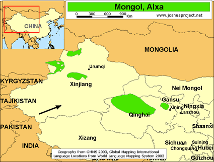 Mongol alxa in china joshua project map of mongol alxa in china gumiabroncs Images