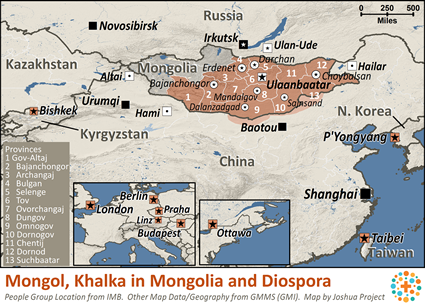 Map of Mongol, Khalka in Mongolia