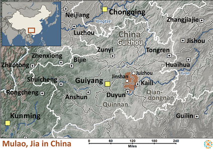 Map of Mulao Jia in China