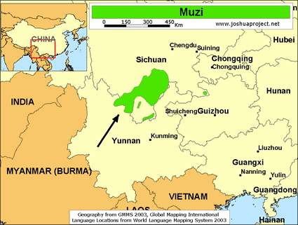 Map of Muzi in China