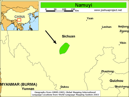 Map of Namuyi in China