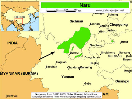 Map of Naru in China