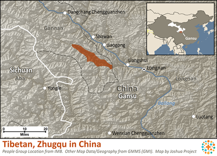 Map of Tibetan, Zhugqu in China