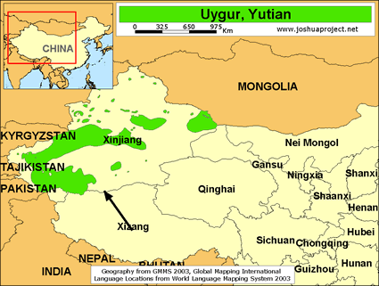 Map of Uygur, Yutian in China