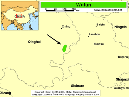 Map of Wutun in China