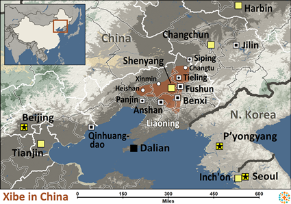 Map of Xibe in China