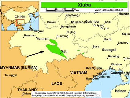 Map of Xiuba in China