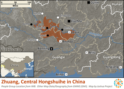 Map of Zhuang, Central Hongshuihe in China