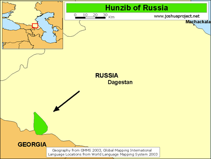 Map of Ghunzib, Hunzib in Russia