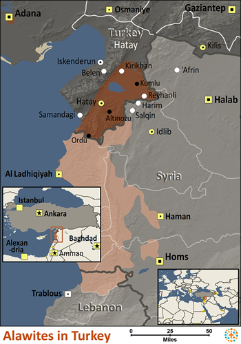 Map of Alawite in Turkey