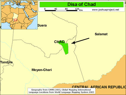 Map of Disa in Chad