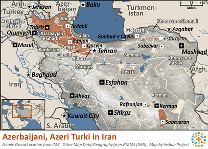 Map of Azerbaijani, Azeri Turk in Iran