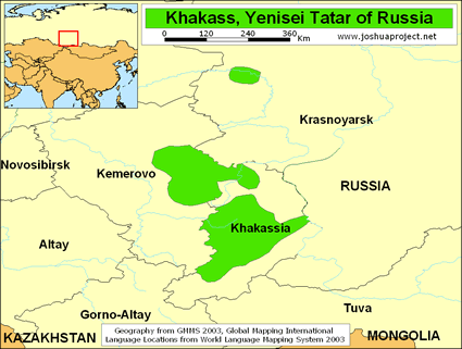 Map of Tatar, Khakass in Russia