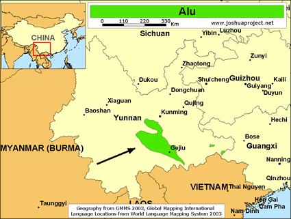 Map of Alu in China