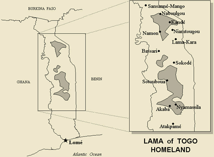 Map of Lama in Togo