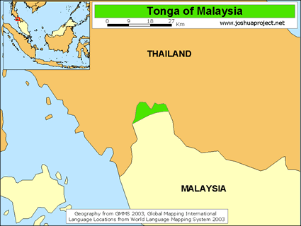 Map of Tonga in Malaysia