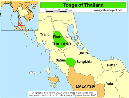 Map of Tonga in Thailand
