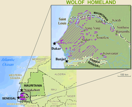 Map of Wolof, Lebou in Mauritania