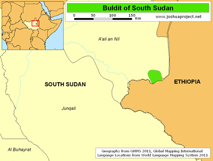 Map of Buldit in South Sudan