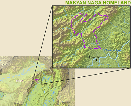 Map of Naga, Makyan in Myanmar (Burma)