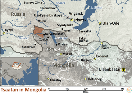 Map of Tsaatan in Mongolia