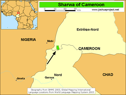Map of Sharwa in Cameroon