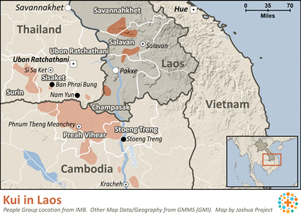 Map of Kui in Laos