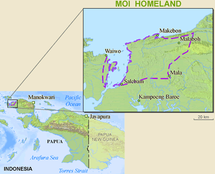 Map of Moi, Mosana in Indonesia