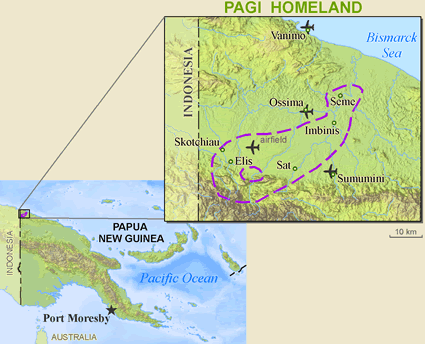 Map of Pagi, Bembi in Papua New Guinea