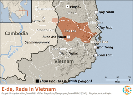 Map of E-de, Rade in Vietnam