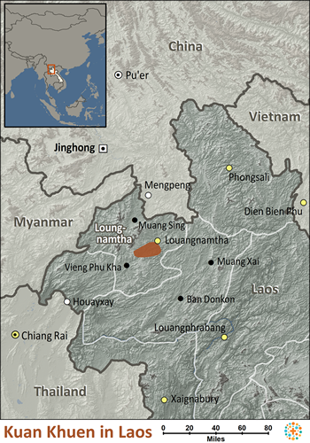 Map of Khuen in Laos