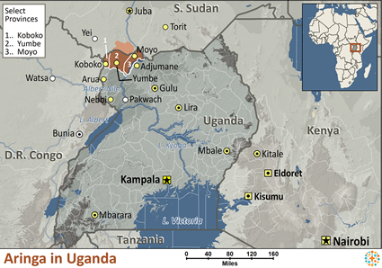 Map of Aringa in Uganda