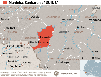 Map of Maninka, Sankaran in Guinea