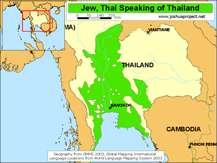 Map of Jew, Thai Speaking in Thailand