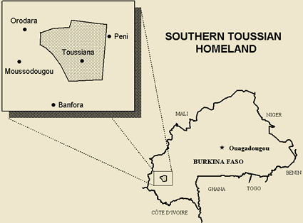 Map of Toussian, Southern in Burkina Faso